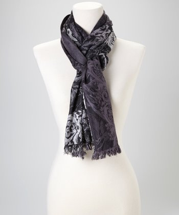 Black & Gray Cloud Silk-Blend Scarf