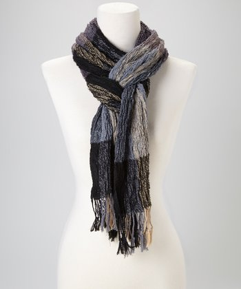 Cream & Gray Stripe Pashmina-Silk Blend Scarf