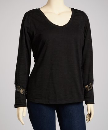 Black Lace-Back Long-Sleeve V-Neck Top - Plus