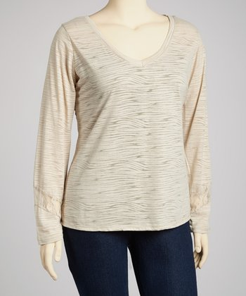River Tan Lace-Back Long-Sleeve V-Neck Top - Plus