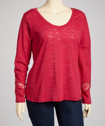 Moody Red Lace-Back Long-Sleeve V-Neck Top - Plus