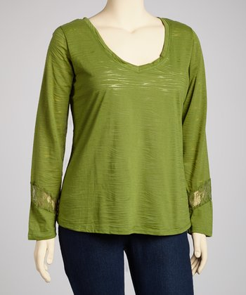 Cactus Green Lace-Back Long-Sleeve V-Neck Top - Plus