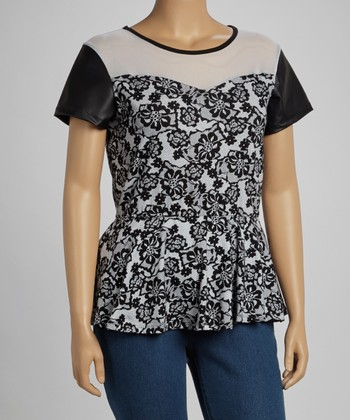 Black & White Floral Peplum Top - Plus