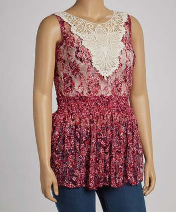 Fuchsia Wildflower Lace Sleeveless Peplum Top - Plus