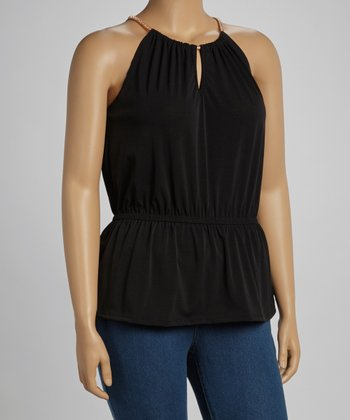 Black Peplum Tank - Plus
