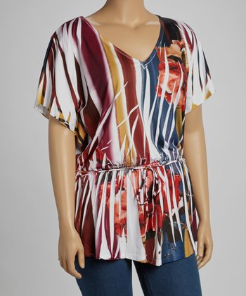 White & Red Floral Sublimation Cape-Sleeve Peplum Top - Plus