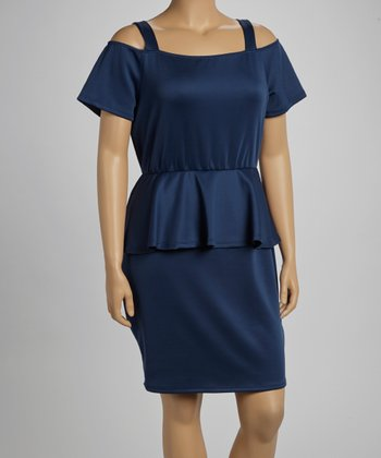 Navy Peplum Dress - Plus