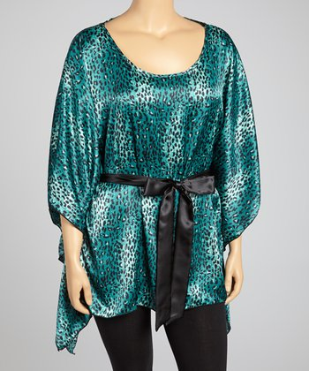 Jade Leopard Cape-Sleeve Top - Plus
