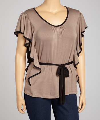 Mocha Ruffle Tie-Waist Top - Plus