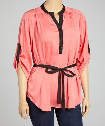 Coral Tie-Waist Top - Plus