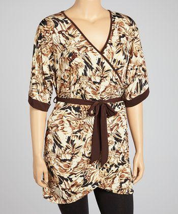 Beige & Black Floral Faux Wrap Dress - Plus