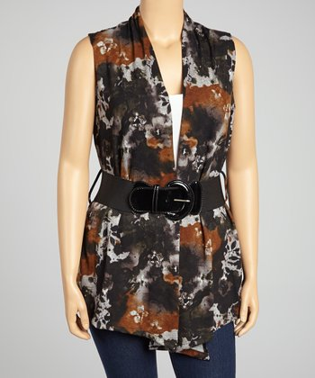 Rust & Black Belted Vest - Plus