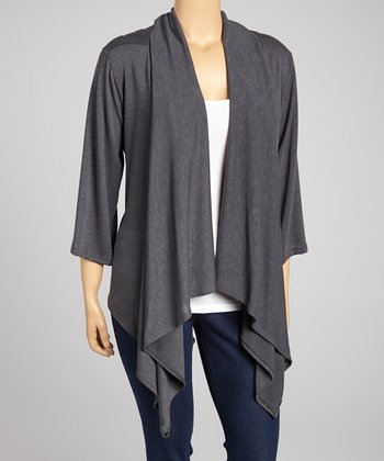 Charcoal Point Hem Open Cardigan - Plus