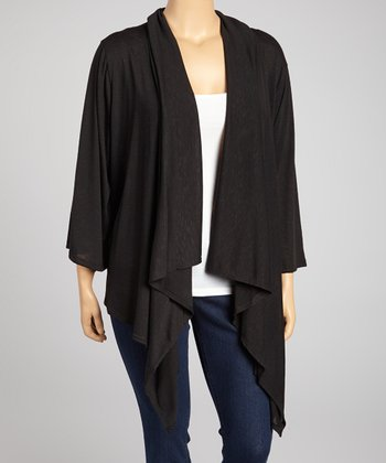 Black Drape Point Hem Cardigan - Plus