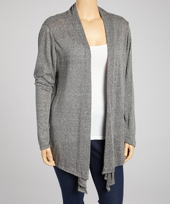 Light Gray Open Cardigan – Plus