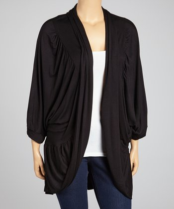 Black Pleated Open Cardigan - Plus