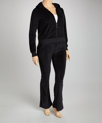 Black Velour Track Set - Plus