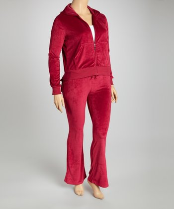 Wine Velour Track Set - Plus