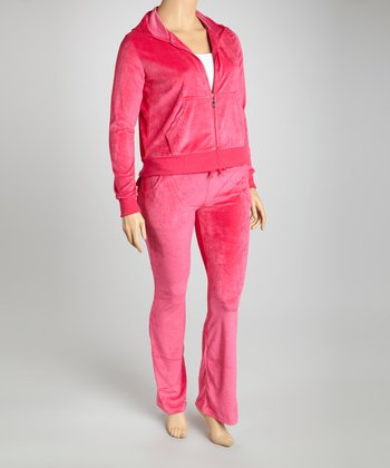 Fuchsia Velour Track Set - Plus