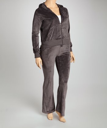 Charcoal Velour Track Set - Plus