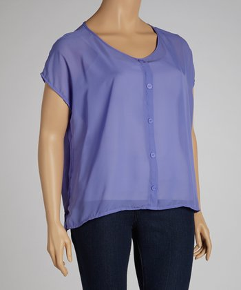 Purple Hi-Low Chiffon Button-Up - Plus