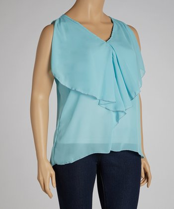 Sky Blue Ruffle Sleeveless V-Neck Top - Plus