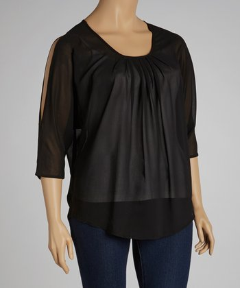 Black Pleated Cutout Top - Plus