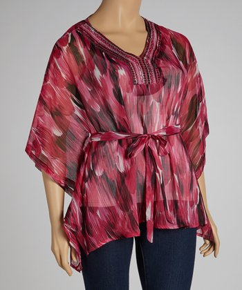 Fuchsia Abstract Sequin Cape-Sleeve Top - Plus