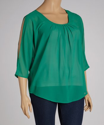 Green Pleated Cutout Top - Plus