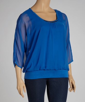 Blue Ruched Embellished Dolman Top - Plus