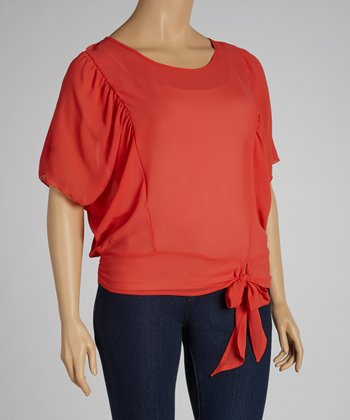 Coral Ruched Cape-Sleeve Top - Plus