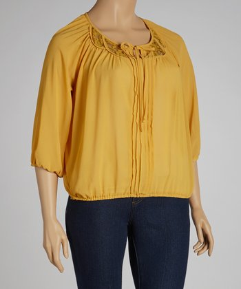 Yellow Pleated Peasant Top - Plus