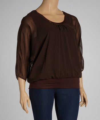 Brown Ruched Embellished Dolman Top - Plus
