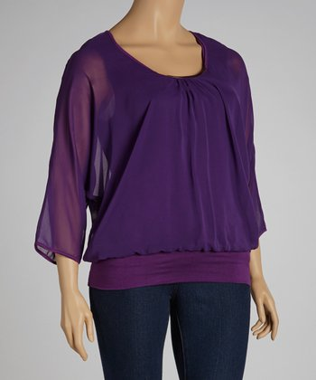 Purple Ruched Embellished Dolman Top - Plus