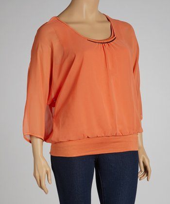 Orange Ruched Embellished Dolman Top - Plus