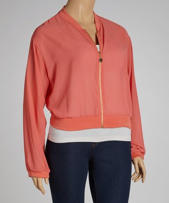 Coral Long-Sleeve Zip-Up Top - Plus