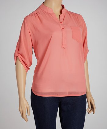 Peach Lace Hi-Low Button-Up Top - Plus