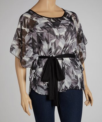 Gray & Black Abstract Tie-Waist Top - Plus