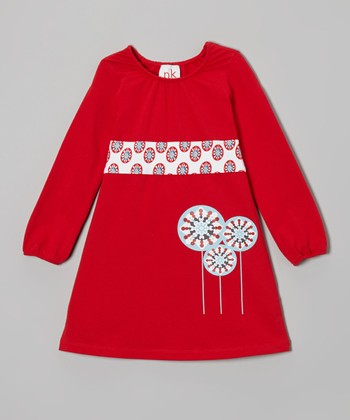 Red Circle Sash Dress - Infant, Toddler & Girls