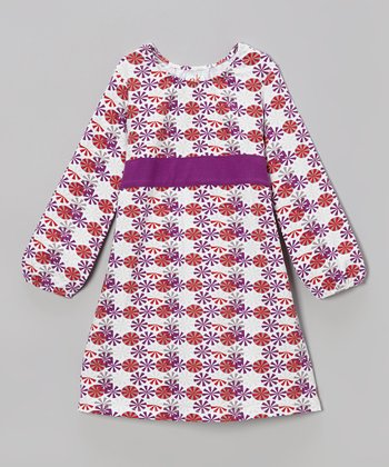 Purple & Red Umbrella Sash Dress - Infant, Toddler & Girls