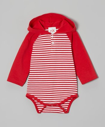 Red Stripe Hooded Bodysuit - Infant