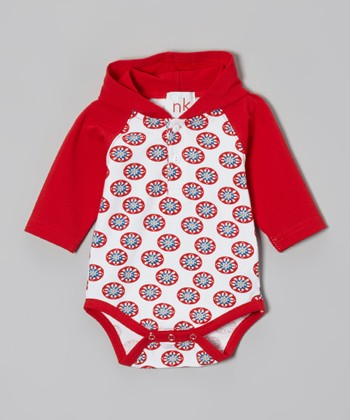 Red Circle Hooded Bodysuit - Infant