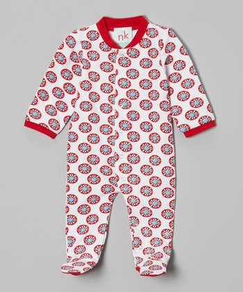 Red & White Circle Footie - Infant