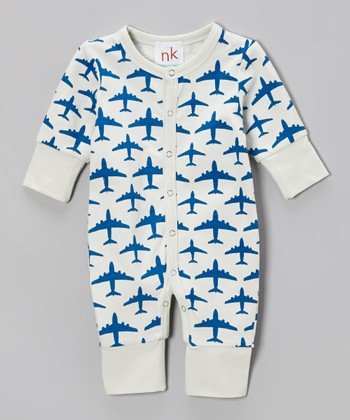 Blue & White Airplane Playsuit - Infant