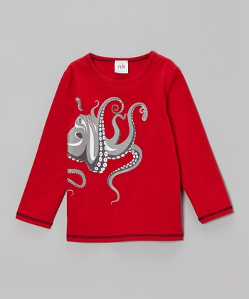 Red Octopus Tee - Toddler & Boys
