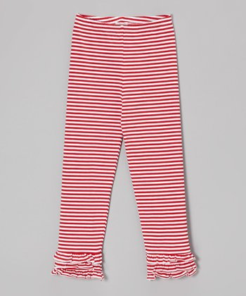 Red Stripe Ruffle Leggings - Infant, Toddler & Girls