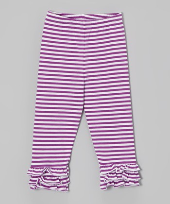 Purple Stripe Ruffle Leggings - Infant, Toddler & Girls