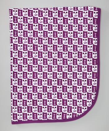 Purple Owl Receiving Blanket