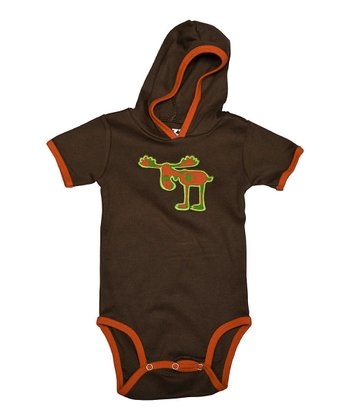 Brown Speckled Moose Hooded Bodysuit - Infant