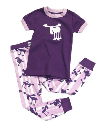 Purple Stripe Moose Pajama Set - Toddler & Kids